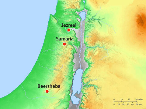 In Judea, Elijah and his servant still fled south to the town of Beersheba where there was a well with water to drink. – Slide 6