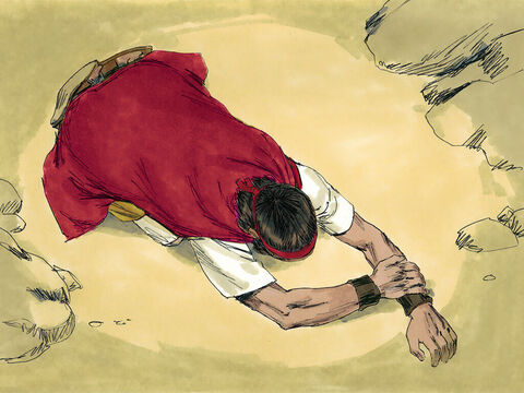 Then he bent down to the ground and put his face between his knees and prayed for rain. – Slide 3