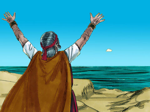 Suddenly, he noticed a small cloud, about the size of a man's fist, rising out of the sea. He rushed back to tell Elijah the news. – Slide 17