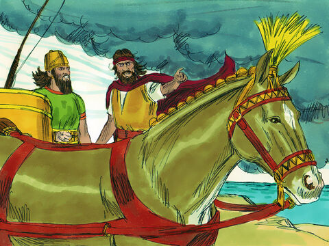 Elijah knew God had answered his prayer and had a message for King Ahab. 'Hitch up your chariot and go down the mountain before the rain stops you.' The sky grew black with clouds, the wind rose and heavy rain started falling. King Ahab quickly rode off in his chariot. – Slide 18