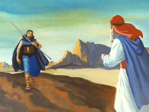 Elijah set off and saw Obadiah the King's servant. The prophet said, 'Go and tell your Ahab that Elijah has returned.' Obadiah hurried back to the king. – Slide 13