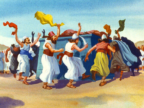 The prophets leaped and danced. 'Oh Baal, hear us!' But there was no answer from Baal. – Slide 29