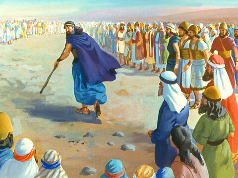The people watched but Baal did not answer. Elijah then called the people near him as he prepared his sacrifice. – Slide 32