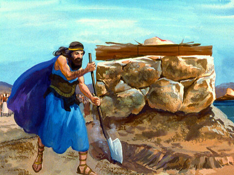 Next he made a trench all around the altar of the Lord and made a strange request. – Slide 35