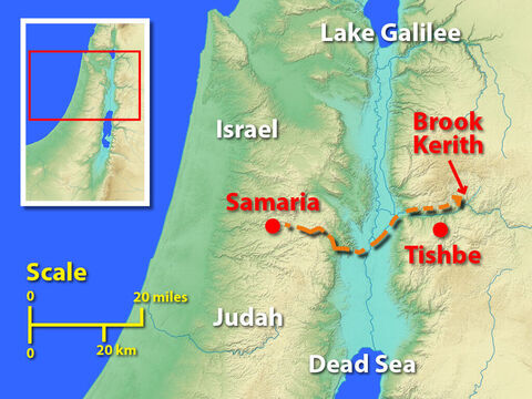 Optional slide: This map shows Elijah's home town of Tishbe, Samaria where King Ahab had his palace and the most likely location of Brook Kerith which ran through desolate ravine – Slide 4