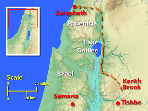 Optional map. This map shows the location of Zarephath in Phoenicia, a country north of Israel and a route Elijah could have taken to avoid being spotted by those searching for him. – Slide 15