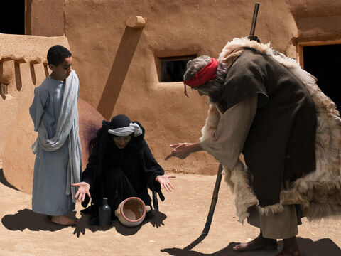 The poor widow shows Elijah all the flour she has left. – Slide 9