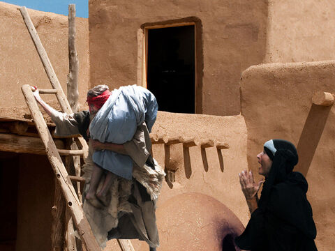 1 Kings 17 v 19 'Give me your son,' replies Elijah and he carries him upstairs to the guest room room. – Slide 22