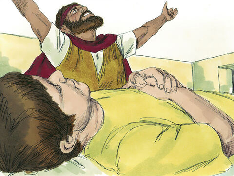 'Give me your son,' Elijah replied. He carried him to the upper room where he was staying, and laid him on his bed. Then he cried out in prayer, 'OLord my God, why have you killed the son of this widow with whom I am staying?' – Slide 11