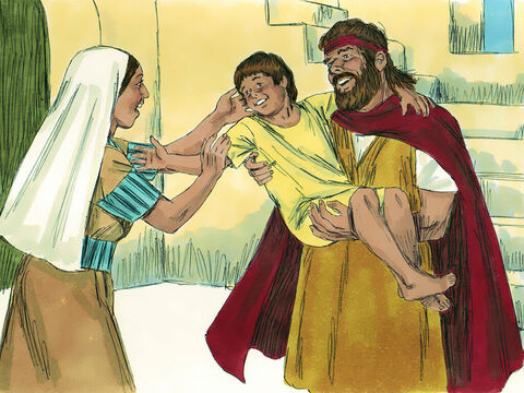 The Lord answered Elijah's prayer. The spirit of the child returned, and he started breathing again! Elijah took him downstairs and gave him to his mother. 'See! He's alive!' he beamed.'I know now that you are a prophet of God,' she told him. 'Whatever you say is from the Lord!' – Slide 13