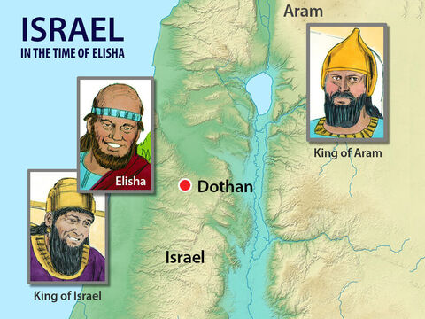 Elisha would warn the King of Israel where the Aram army was planning to camp, so he could put guards in that area. At first, the King of Aram thought one of his generals must be a traitor, informing the king of Israel of his plans. But when he learnt the informant was Elisha, he decided to send troops to capture him. – Slide 2