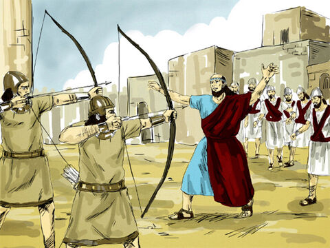 Once they were in the city, Elisha said, 'Lord, open the eyes of these men.' God immediately allowed them to see and they were shocked to find they were captives in the city of Samaria. The King of Israel had the enemy surrounded and asked Elisha, 'Shall I kill them?' Don't kill them,' Elisha ordered. 'Would you kill prisoners you had captured with your own sword or bow? – Slide 8