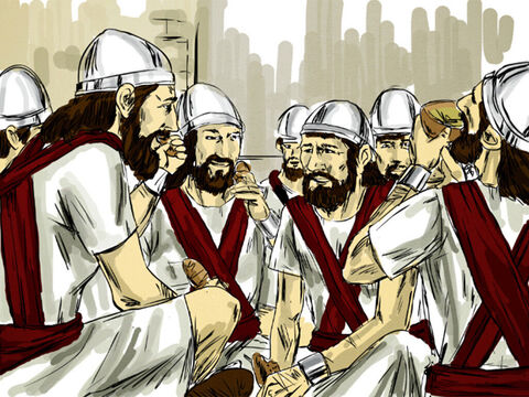 'No, give them food and water and then release them to go back to their land.' So the King prepared a great feast for them. After they had finished eating and drinking, he set them free to return home. After the mercy shown to them, the bands from Aram stopped raiding Israel's territory. – Slide 9