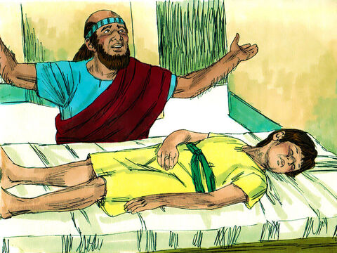 When Elisha reached the house, there was the boy lying dead on his couch. He went in, shut the door and prayed to the Lord. – Slide 14