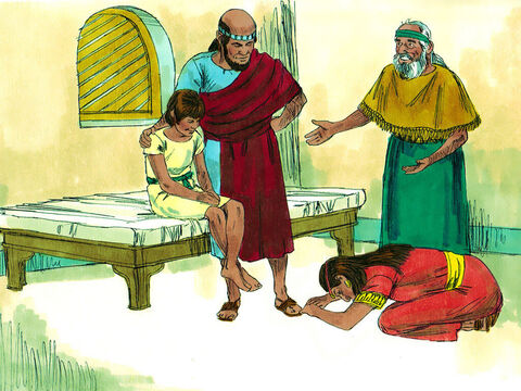 Elisha told Gehazi to summon his mother. When she came in, he said, 'Take your son.' She fell at Elisha's feet and bowed to the ground. Then she took her son and went out. – Slide 16