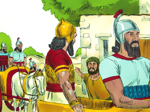 So Naaman went with his horses and chariots and stopped at the door of Elisha's house. Elisha sent a messenger to say to him, 'Go, wash yourself seven times in the Jordan, and your flesh will be restored and you will be cleansed.' – Slide 7