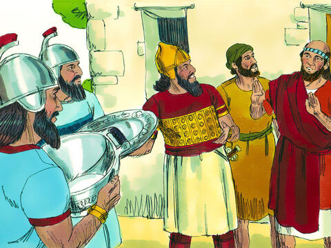 Naaman and all his attendants went back to Elisha. Naaman told him, 'Now I knowthat there is no God in all the world except in Israel. So please accept a giftfrom your servant.' Elisha replied, 'As surely as the Lordlives, whom I serve, I will not accept a thing.' Even though Naaman urged him, he refused. Naaman promised Elisha he would only worship the Lord God in future. 'Go in peace,' Elisha said. – Slide 14