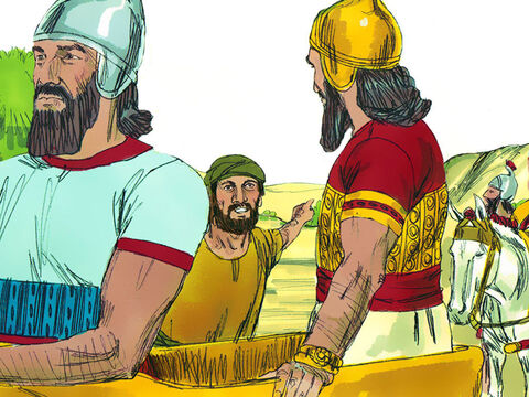 "Gehazi, the servant of Elisha, however followed after Naaman. 'Elisha sent me to say, ""Two young prophets arrived at the hill country of Ephraim,""' he lied. 'Please give them silver and two sets of clothing.' Naaman willingly gave Gehazi twice the amount of silver he had asked for and the clothes. He smuggled them back to the house and hid them. – Slide 15"
