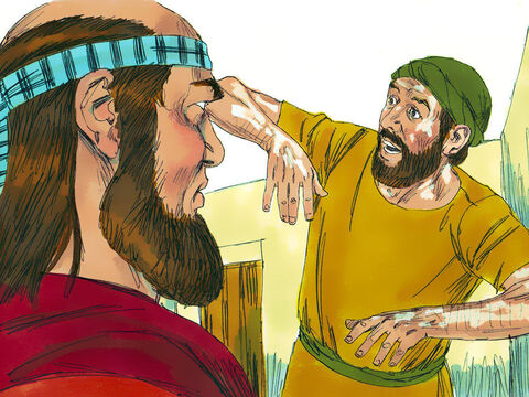 Elisha asked 'Where have you been, Gehazi?'Nowhere,' Gehazi, lied.'Was not my spirit with you when Naaman got down from his chariot to meet you?' Elisha asked. He knew about his dishonest servant's dealings and declared, 'Naaman's leprosywill cling to you and to your descendants forever.' Gehazi's skin became leprous - as white as snow. – Slide 16