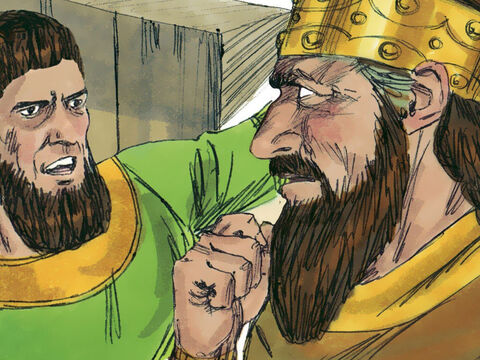 The officer with the king mocked Elisha's claim. 'Even if the Lord opened the floodgates of the heavens, this could not happen.' Elisha shouted back to the officer, 'You will see it with your own eyes, but you will not eat any of it!' – Slide 7