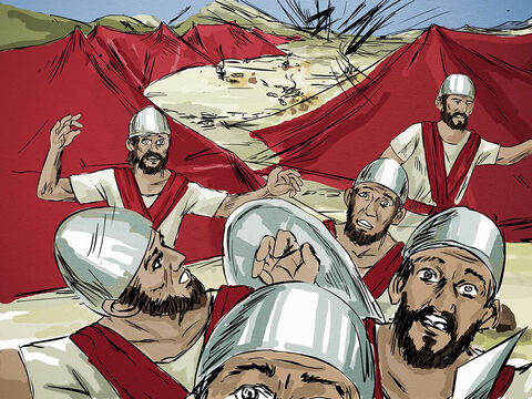 The Lord had caused the enemy forces to hear the sound of a mighty army approaching. Fearing the King of Israel had hired the Hittite and Egyptian army to attack them, they had left everything and fled for their lives. – Slide 10