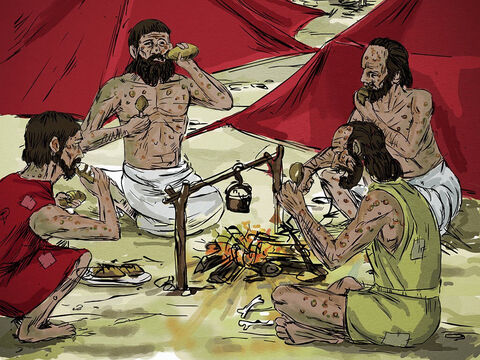 The four men with leprosy entered one of the tents and ate and drank. Then they took silver, gold and clothes, and went off and hid them. They returned and entered another tent and took some things from it and hid them also. – Slide 11