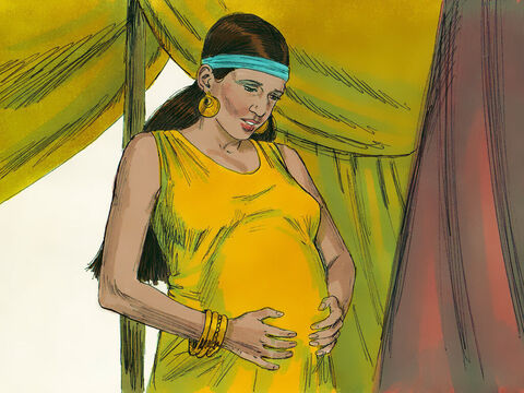 The Lord answered his prayer, and Rebekah became pregnant. She felt a lot of movement in her womb and asked God, 'Why is this happening to me?' – Slide 2