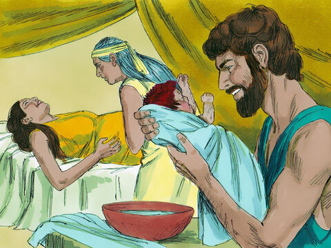When the time came for her to give birth, she had twin boys. The first to come out was red, and his whole body was hairy, so they named him Esau. – Slide 4