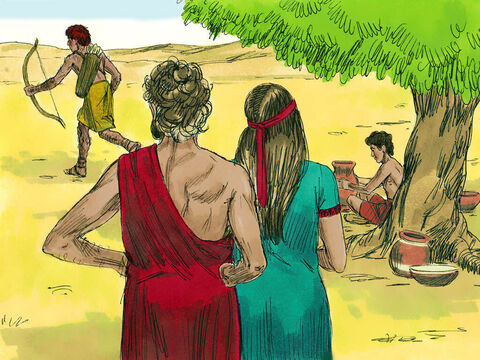 One day Esau set out on a long hunting trip. – Slide 8