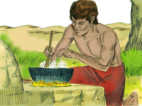 Jacob remained at home and cooked a lentil stew. – Slide 9