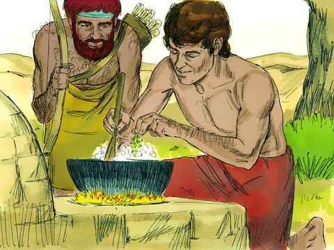 Esau arrived hungry and exhausted from his hunting trip. 'Quick, let me have some of that red stew! I'm famished!' he asked Jacob. – Slide 10