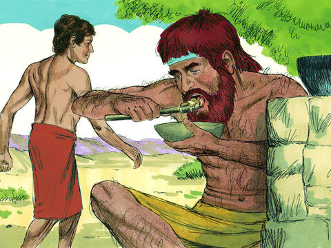 Jacob gave Esau some bread and some lentil stew. He ate and drank, and then got up and left. <br/>So Esau despised his birthright. He did not care about God's promise to make a great nation from his descendants, one of whom would be the Saviour of the world. – Slide 14