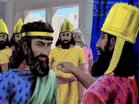 Sometime later the king appointed a new prime minister, a man called Haman. – Slide 17