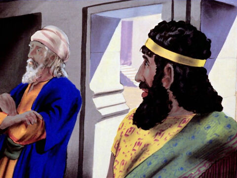 'I'll speak to the king about this,' said an angry Haman who hated the Jews. – Slide 19