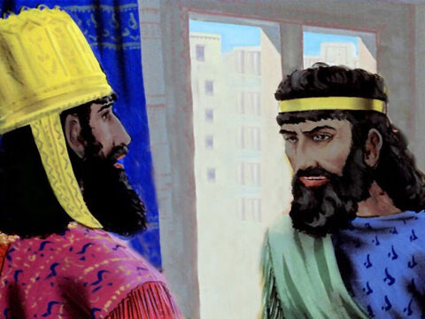 'Your majesty, there are people in the land that do not recognise or obey your laws,' Haman complained. – Slide 20