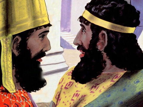 The king told Haman, 'These people, the Jews, are given to you, do with them whatever seems fit.' – Slide 22