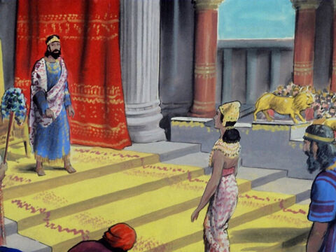 Queen Esther approached the King who raised his sceptre to show his approval. 'What do you want Queen Esther? I have said that I will give you up to half of my kingdom.' – Slide 29