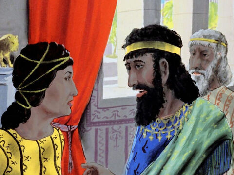 So Esther asked, 'Could the king and Haman have dinner with me tonight?' – Slide 30