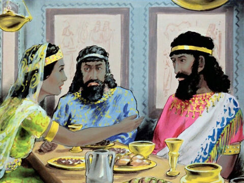 At dinner, Esther's only request was that the king and Haman would have dinner with her again the following evening. – Slide 32