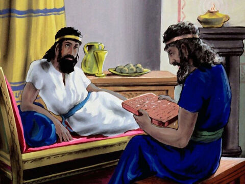 They read to the king the account of how Mordecai saved the king's life. – Slide 34