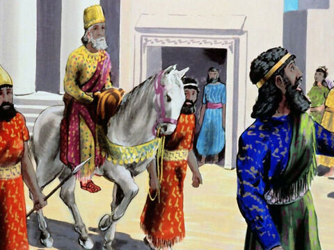 So Haman had to dress Mordecai in the king's clothes, and publically proclaim him specially honoured by the king. – Slide 39