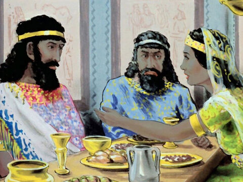 Later, at dinner, Esther told the king that she was a Jewess, and begged him to save her people. – Slide 40