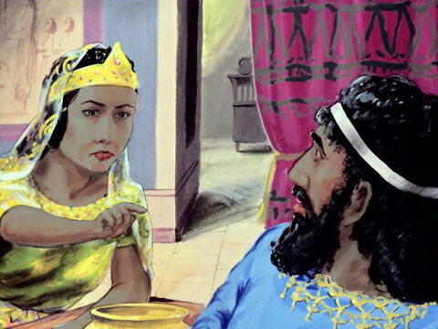 'It's him!' Esther replied, pointing to Haman. 'The enemy is sitting at the table with us.' – Slide 43