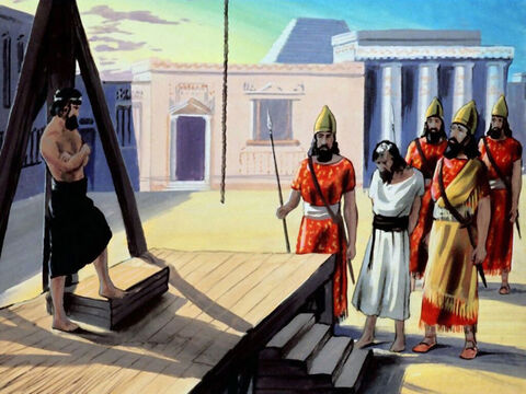 And so it was, that Haman was hung from the gallows that he prepared for Mordecai. – Slide 45