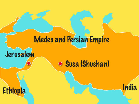 King Xerxes ruled over the empire of the Medes and Persians, which stretched over 127 provinces from Ethiopia to India. Living in his empire were many Jews. – Slide 2