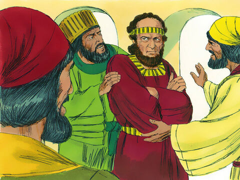 Why do you break the King's command and not bow down and honour Haman?' the servants asked. They knew Mordecai was a Jew. They kept asking him but Mordecai would not listen to them. – Slide 15