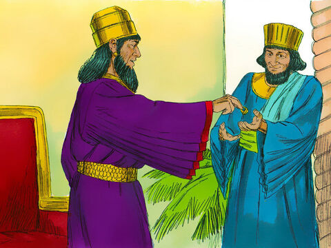 The King took off his signet ring and gave it to Haman. 'Keep the money and do to these people what you think is best.' – Slide 20