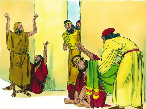 When Esther heard about Mordecai's distress, she sent Hathak, one of the Kings servants, with clothes for him to put on instead of the sackcloth. But he refused to put them on. – Slide 3