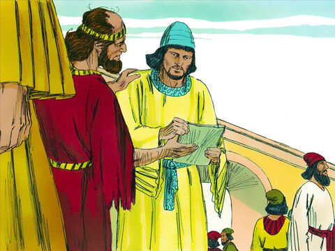 Hathak was sent again by Esther to find out what was troubling Mordecai. Mordecai gave Hathak the text of the new law and explained how much Haman had promised to pay into the treasury to destroy the Jews. He asked Hathak to tell Esther to go into the King's presence to beg for mercy and plead with him to save her people, the Jews. – Slide 4