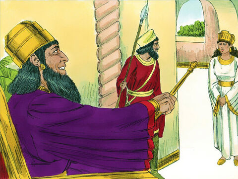 Chapter 5: On the third day Esther put on her royal robes and stood in the inner court of the palace in front of the King's hall. When the King saw her, he was pleased and held out his golden sceptre to spare her life. – Slide 8